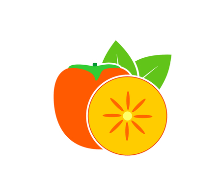 Persimmon logo. Isolated persimm on white background