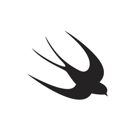 Swallow silhouette. Isolated swallow on white backgroun. Bird