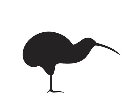 Kiwi silhouette. Isolated kiwi on white background. Bird Ilustrace