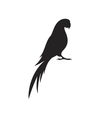 Parrot macaw silhouette. Isolated parrot on white background Иллюстрация