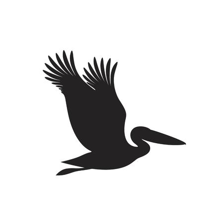 Pelikan-Silhouette. Isolierter Pelikan auf weißem Hintergrund