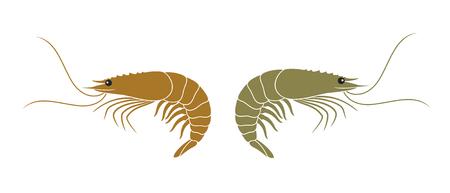 Shrimp logo. Isolated shrimp on white background. Prawns Illustration