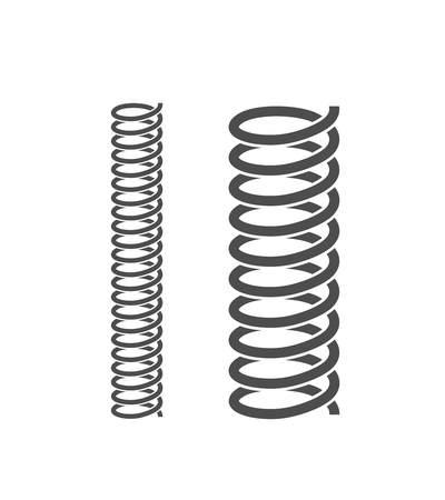 Spiral spring set. Isolated spiral spring on white background Illustration