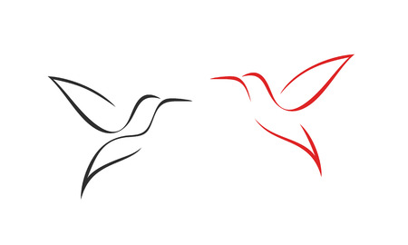 Hummingbird logo. Isolated hummingbird on white background. Outline Ilustração