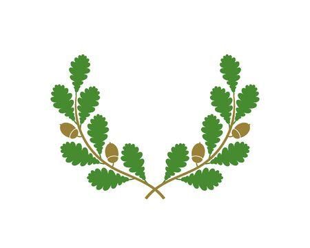 Oak wreath. Isolated oak wreath on white background
