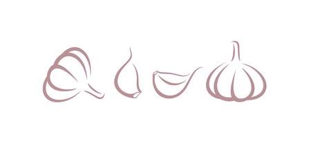 Knoblauch-Logo. Isolierter Knoblauch auf weißem Hintergrund