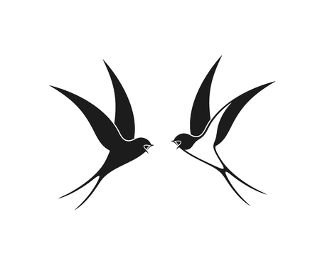 Swallow logo. Isolated swallow on white backgroun. Bird Çizim