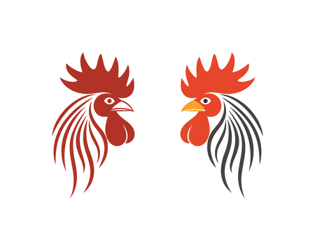 Rooster logo. Isolated rooster on white background