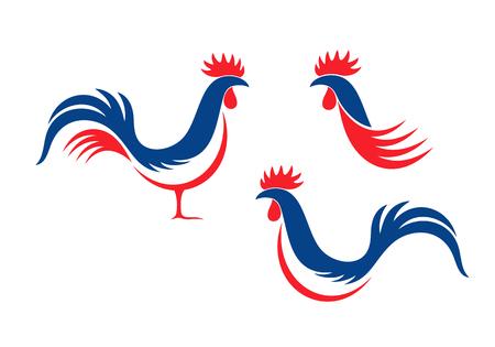 Feliz Día de la Bastilla, 14 de julio. Día Nacional de Viva France. Gallo francés. Gallo aislado sobre fondo blanco.