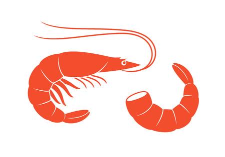 Logotipo de camarón. Camarones aislados sobre fondo blanco. Langostinos