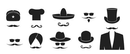 Mustache logo. Hat. Isolated mustache on white background. Beard