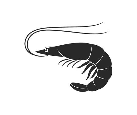 Shrimp logo. Isolated shrimp on white background. Prawns 向量圖像