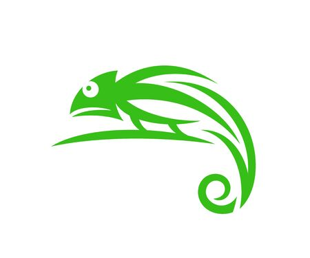Camaleonte verde. Camaleonte astratto su sfondo bianco Vettoriali