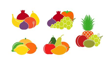 Isolated fruit on white background Ilustrace