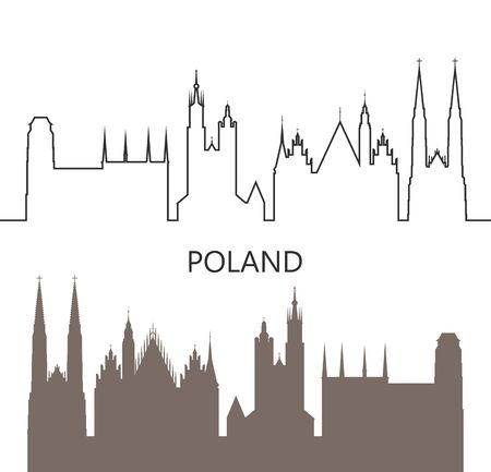 Poland icon. Isolated Polish architecture on white background