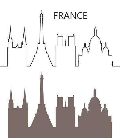 France icon. Isolated French architecture on white background Ilustracja