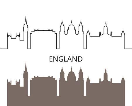 England icon. Isolated English architecture on white background Illustration