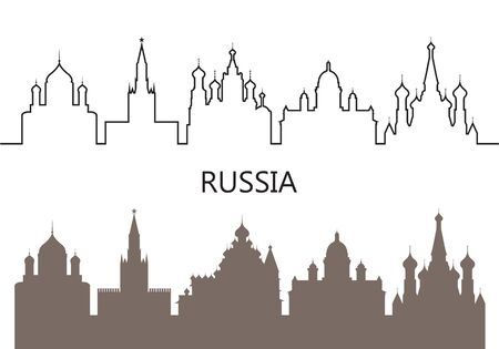 Russia icon. Isolated Russian architecture on white background