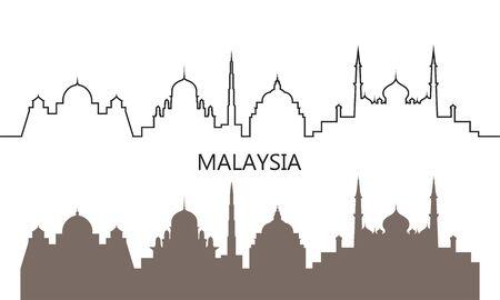 Malaysia logo. Isolated Malaysian architecture on white background