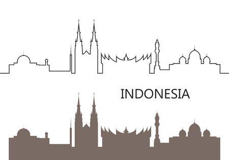 Indonesia logo. Isolated Indonesian architecture on white background