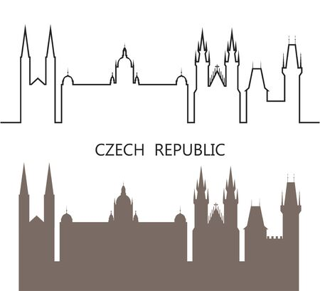 Czech Republic logo. Isolated Czech architecture on white background