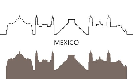 Mexico logo. Isolated Mexican architecture on white background
