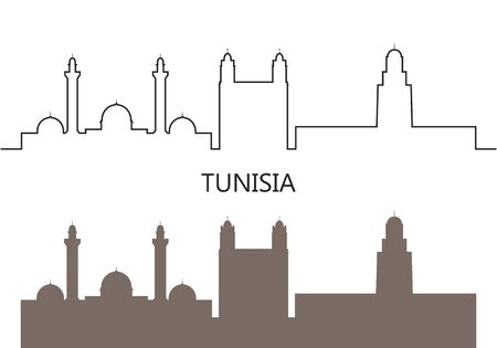 Tunisia logo. Isolated Tunisia architecture on white background