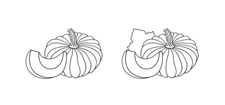 Pumpkin logo. Outline Isolated pumpkin on white background