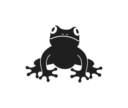 Frosch-Logo. Abstrakter Frosch auf weißem Hintergrund