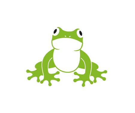 Green frog logo. Abstract frog on white background