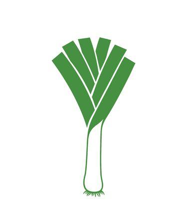 Leek logo. Isolated leek on white background