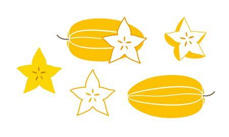 Carambola logo. Isolated carambola with leaves on white background