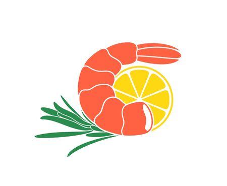 Shrimp seafood. Isolated shrimp on white background. Logo Ilustrace