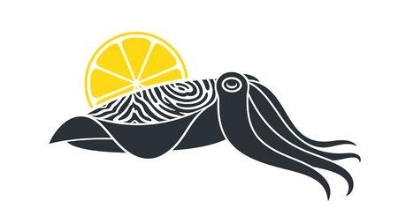 Pharaoh cuttlefish logo. Isolated cuttlefish on white background Ilustrace