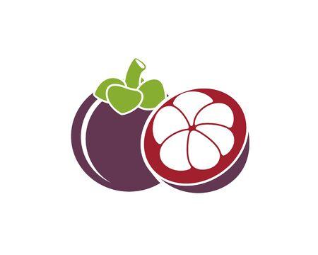 Mangosteen fruit logo. Isolated mangosteen fruit on white background Ilustrace