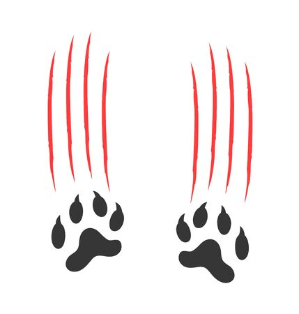 Paw Print logo. Isolated paw print on white background. Tiger