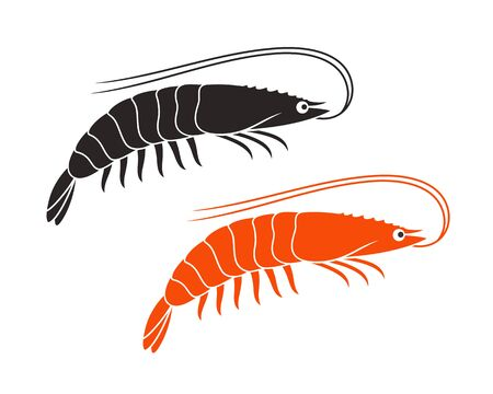 Shrimp logo. Isolated shrimp on white background. Prawns ЛОГОТИПЫ