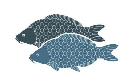 Carp logo. Isolated carp on white background