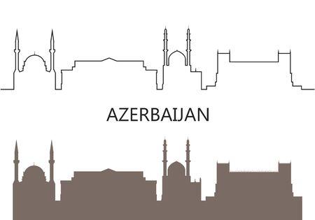 Azerbaijan logo. Isolated Azerbaijani architecture on white background