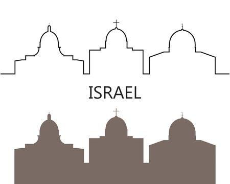 Israel logo. Isolated Israeli architecture on white background