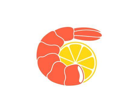 Garnelen Meeresfrüchte. Isolierte Garnelen auf weißem Hintergrund. Logo Logo