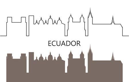 Ecuador logo. Isolated Ecuadorian architecture on white background