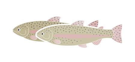 Rainbow trout logo. Isolated trout on white background Vectores