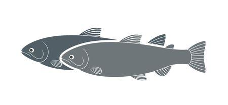 Logo de la truite arc-en-ciel. Truite isolée sur fond blanc