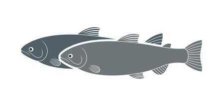 Rainbow trout logo. Isolated trout on white background Foto de archivo - 136236496