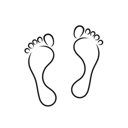 Footprint outline. Isolated footprint on white background Ilustrace