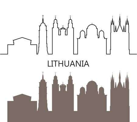 Lithuania logo. Isolated Lithuanian architecture on white background
