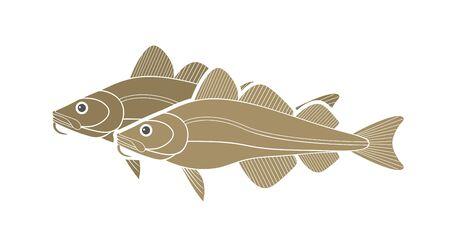 Atlantic cod logo. Isolated cod on white background Logo