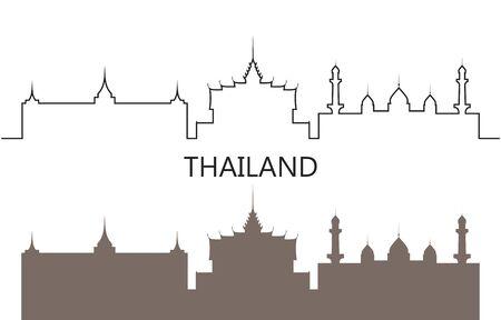 Thailand logo. Isolated Thai architecture on white background