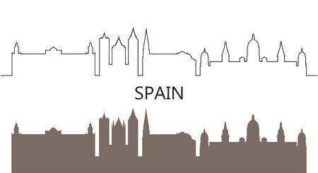Spain logo. Isolated Spanish architecture on white background